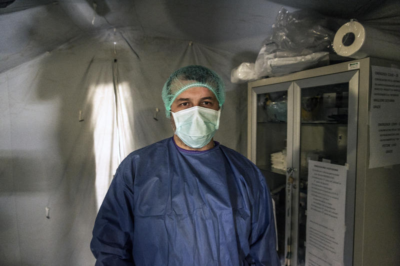A nurse inside a Civil Protection tent set up as a Pre-Triage in the Luigi Curto hospital on March 16, 2020 in Polla, Italy. Source: Getty Images