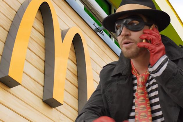 McDonald's Hamburglar shown in his first of several awkward appearances. (The Verge)