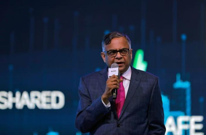 FILE PHOTO: N Chandrasekaran, Chairman of Tata Sons, speaks at the unveiling of Tata Motors HBX compact SUV at the India Auto Expo 2020 in Greater Noida