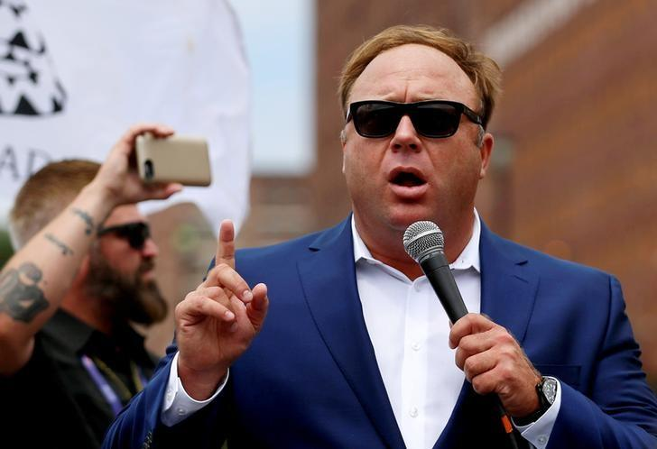 FILE PHOTO: Jones from Infowars.com speaks during a rally in support of Republican presidential candidate Donald Trump in Cleveland