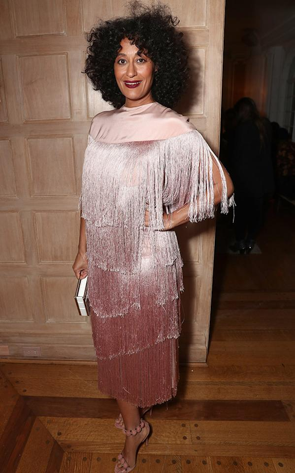 <p>Ross's deep-wine-hued lip commands just as much attention as her pretty pink fringed frock. (Photo: Todd Williamson/WireImage) </p>