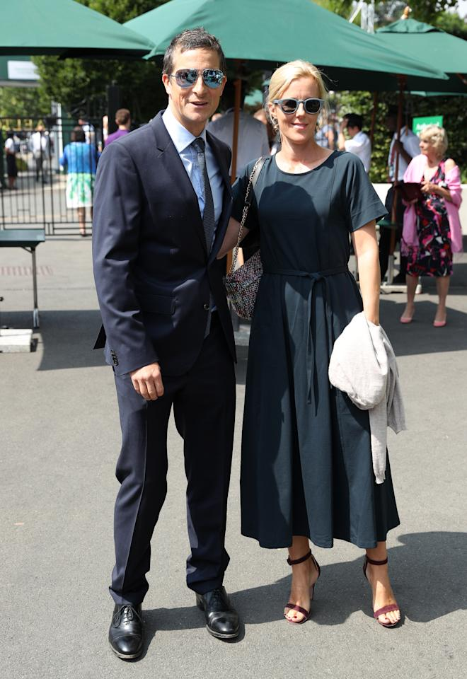 <p>Bear and Shara Grylls made their Wimbledon 2018 debut together on 13 July <em>[Photo: PA]</em> </p>