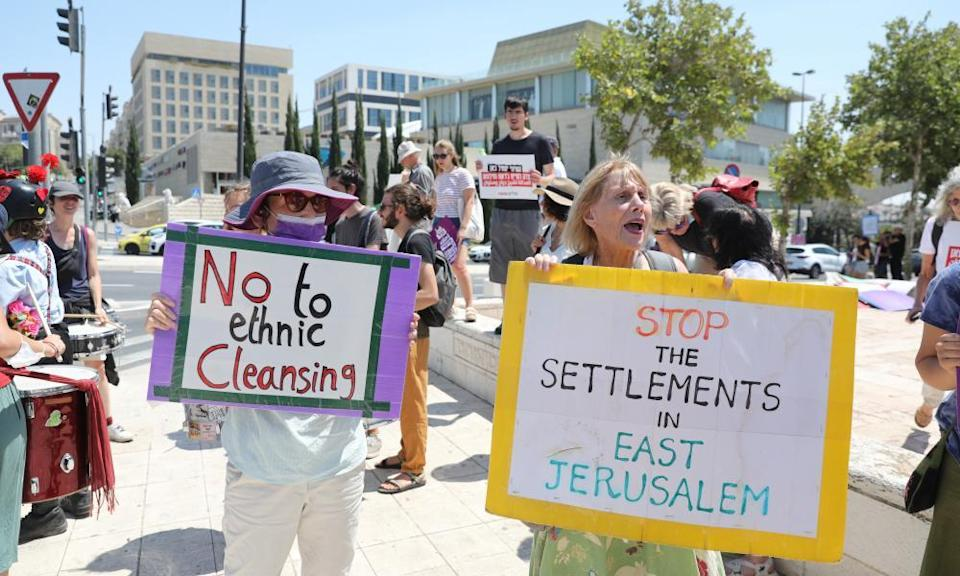 Israeli leftwing activists protest against government policy regarding Palestinians in East Jerusalem outside the supreme court in Jerusalem