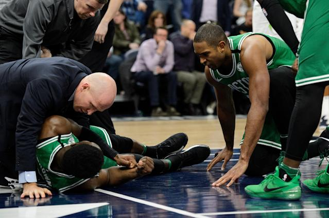 Jaylen Brown is expected to miss time next week with a concussion but avoided further injury during a terrifying fall from the rim. (Getty)