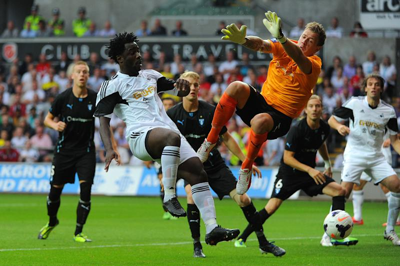 Swansea's Ivorian striker Wilfred Bony (left) is tipped to be a star this coming season. (AFP file photo)