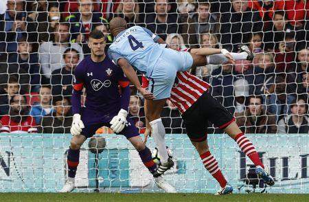 Britain Soccer Football - Southampton v Manchester City - Premier League - St Mary's Stadium - 15/4/17 Manchester City's Vincent Kompany scores their first goal  Reuters / Stefan Wermuth Livepic