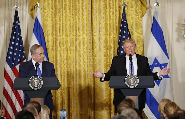U.S. President Donald Trump (R) addresses a joint news conference with Israeli Prime Minister Benjamin Netanyahu at the White House in Washington, U.S., February 15, 2017. (Kevin Lamarque/Reuters)