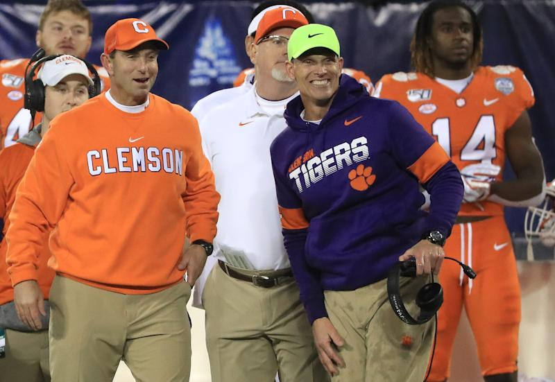 Head coach Dabo Swinney and defensive coordinator Brent Venables look on during the ACC title game on Dec. 7, 2019. (Streeter Lecka/Getty Images)