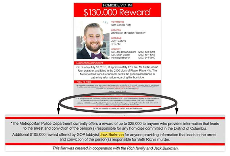 A flyer circulated by Jack Burkman posting a reward for information in the Seth Rich murder. (Graphic: Yahoo News)