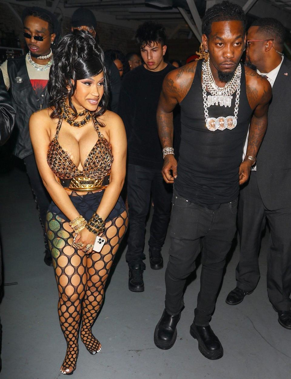 <p>Cardi B leaves her star-studded birthday bash with husband Offset on Oct. 12 in L.A.</p>