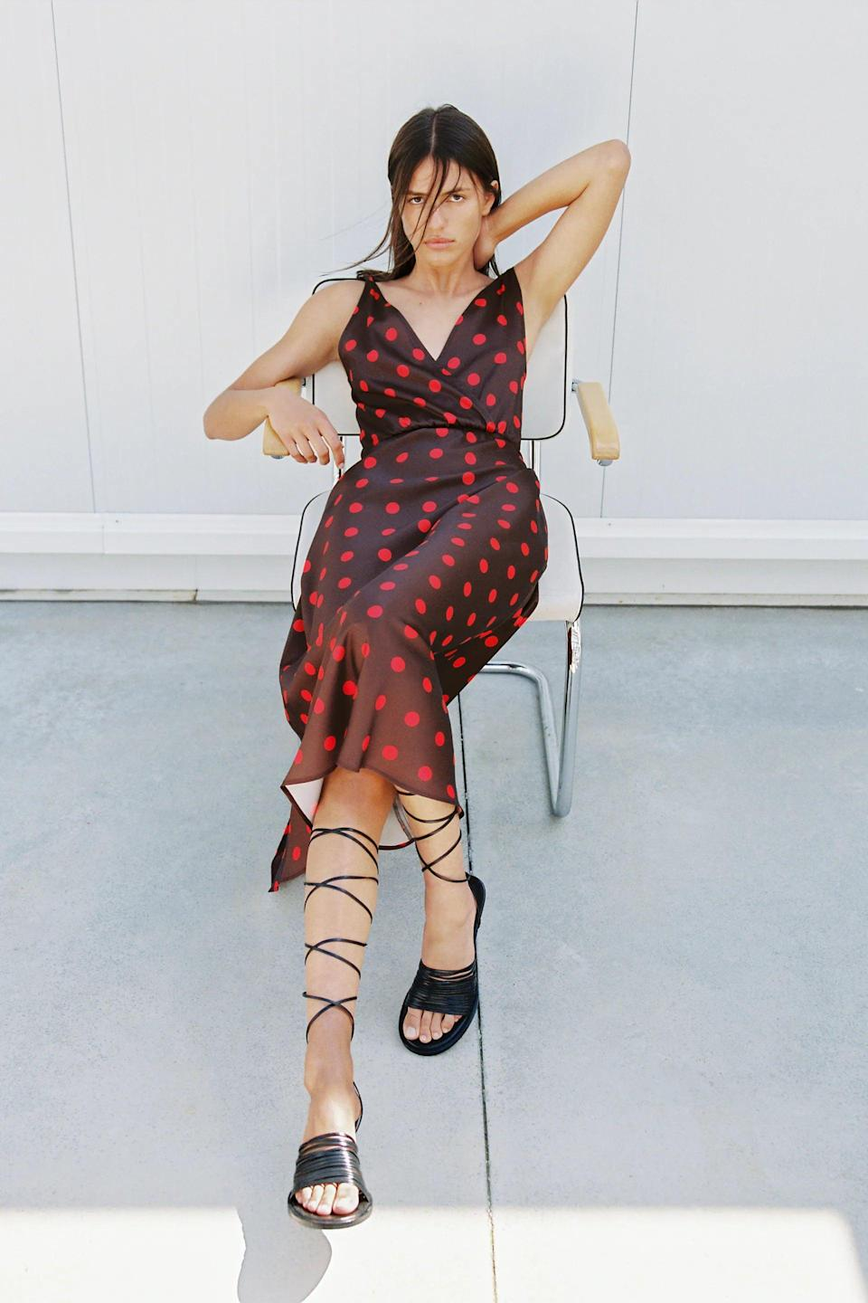 <p>This <span>Zara Polka Dot Dress</span> ($50) is gorgeous - that color combination is perfect for fall. Style it with strappy sandals.</p>