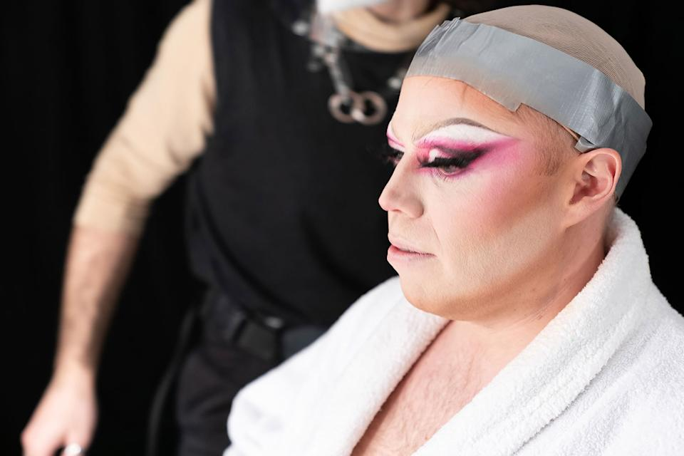 Rob and Romesh are transformed into Drag Queens. (Sky)