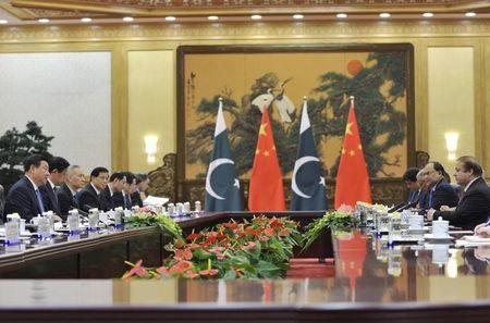 China's President Xi Jinping attends a meeting with Pakistan's Prime Minister Nawaz Sharif at the Great Hall of the People in Beijing
