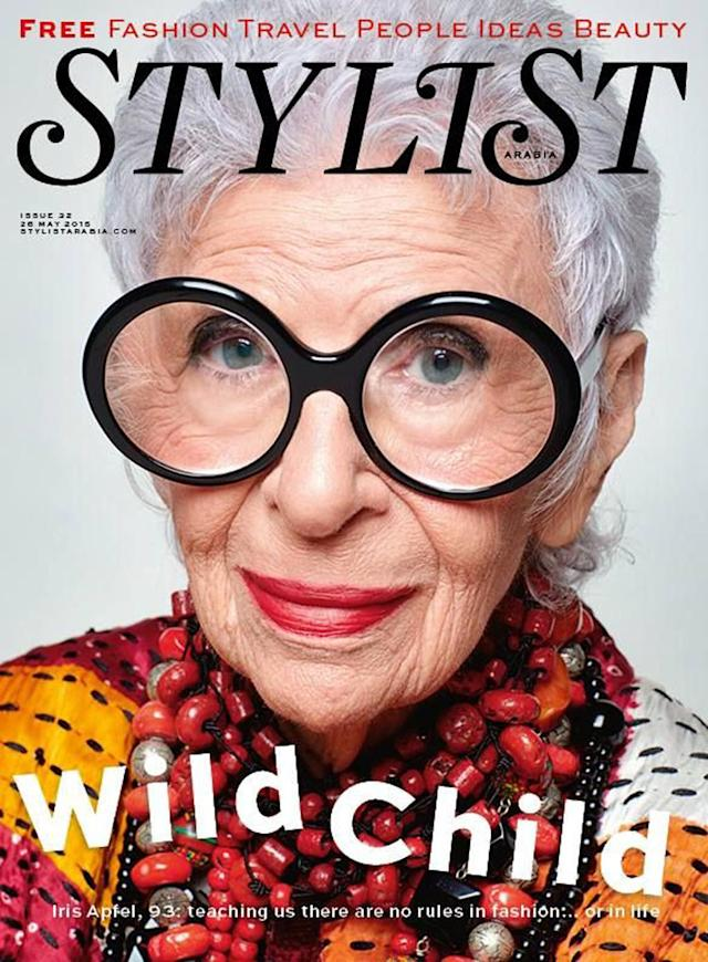<p>The fashion icon continues to hold the title of oldest woman to grace the cover of a magazine. At 93 years old she appeared on the May 2015 issue of <em>Stylist</em> UAE. (Photo: Stylist) </p>