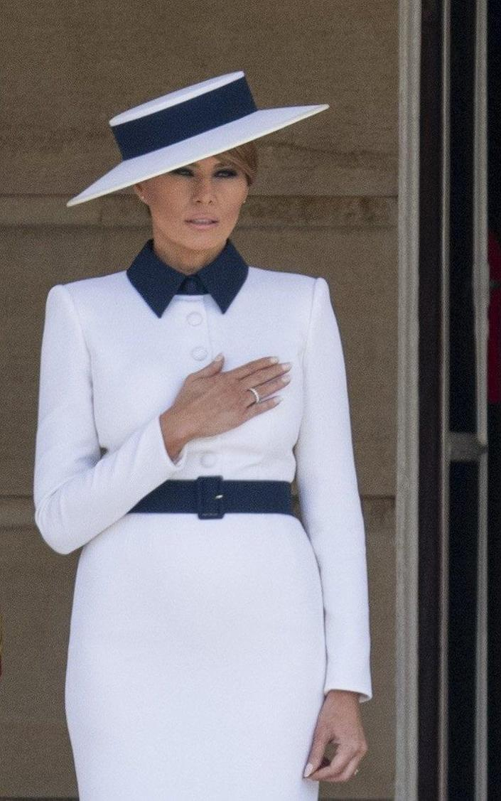 First Lady Melania Trump during the Ceremonial Welcome in the Buckingham Palace Garden today. - UK Press