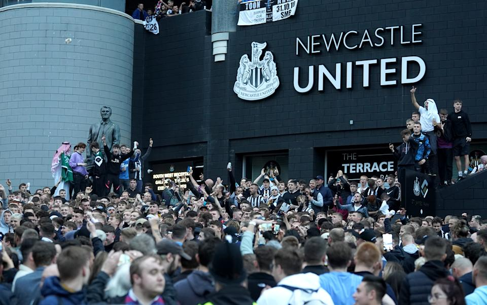 Newcastle United fans celebrated en masse once the sale of the club was announced. (Photo by Owen Humphreys/PA Images via Getty Images)