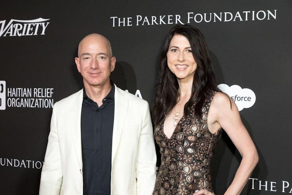 LOS ANGELES, CALIFORNIA - JANUARY 06:  Chief Executive Officer of Amazon Jeff Bezos (L) and MacKenzie Bezos attend the SEAN PENN J/P HRO GALA: A Gala Dinner to Benefit J/P Haitian Relief Organization and a Coalition of Disaster Relief Organizations at Milk Studios on January 6, 2018 in Los Angeles, California.  (Photo by Greg Doherty/Patrick McMullan via Getty Image)   The couple, perhaps in better times. Photo by Greg Doherty Patrick McMullan via Getty Image