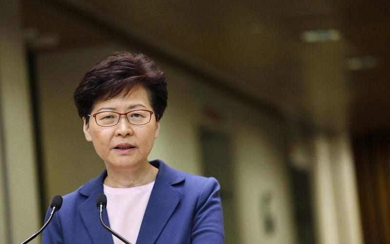Carrie Lam, Hong Kong's chief executive, speaks during a news conference in Hong Kong - Bloomberg