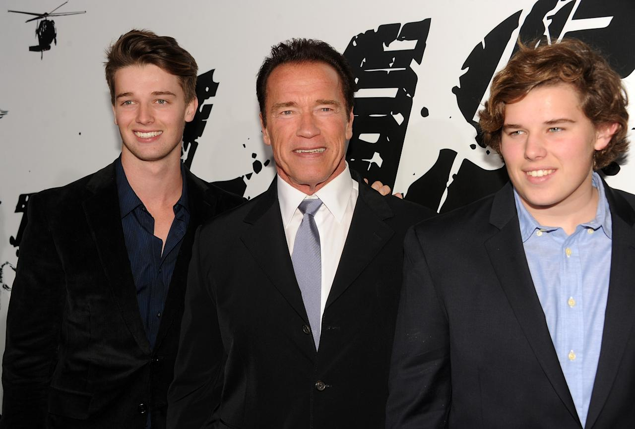"HOLLYWOOD, CA - JANUARY 14:  (L-R) Patrick Schwarzenegger, actor Arnold Schwarzenegger, and Christopher Schwarzenegger arrive at the premiere of Lionsgate Films' ""The Last Stand"" at Grauman's Chinese Theatre on January 14, 2013 in Hollywood, California.  (Photo by Kevin Winter/Getty Images)"
