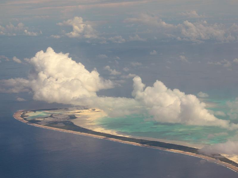 An island in the Republic of Kiribati. The country could be the first to be lost to rising sea levels: Getty