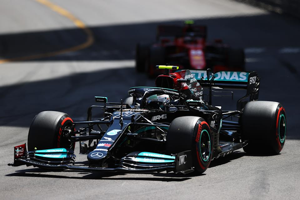 MONTE-CARLO, MONACO - MAY 23: Valtteri Bottas of Finland driving the (77) Mercedes AMG Petronas F1 Team Mercedes W12 on track during the F1 Grand Prix of Monaco at Circuit de Monaco on May 23, 2021 in Monte-Carlo, Monaco. (Photo by Bryn Lennon/Getty Images)