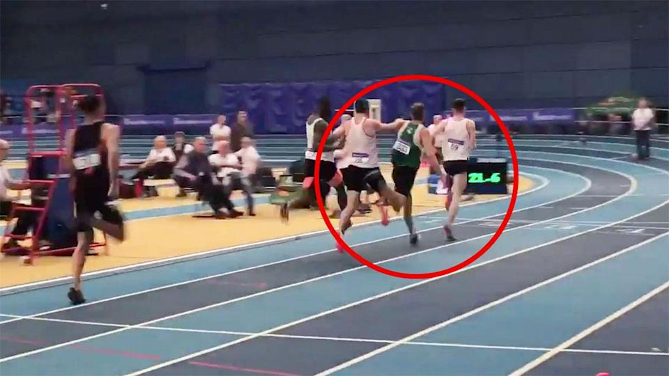 The controversial moment in the men's 400m final. Pic: Athletics Ireland