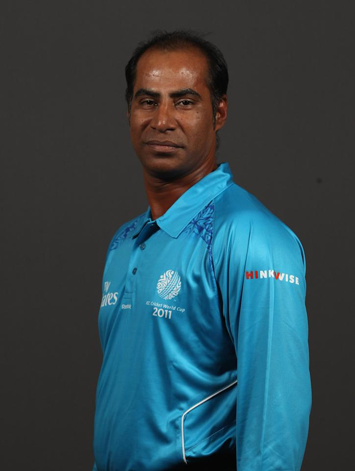DHAKA, BANGLADESH - FEBRUARY 14:  Umpire Enamul Haque Moni during the Umpire Portrait Session at the Sheraton Hotel on February 14, 2011 in Dhaka, Bangladesh.  (Photo by Tom Shaw/Getty Images)