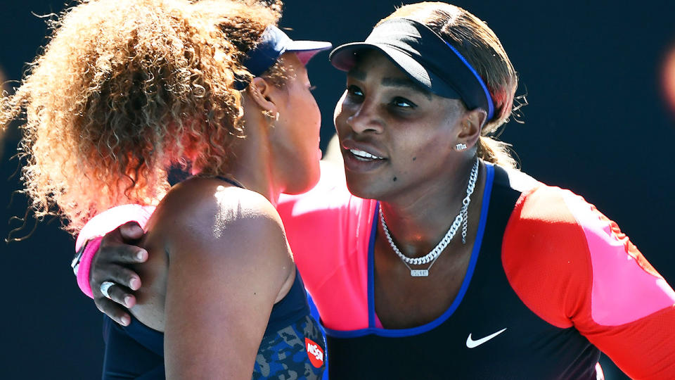Naomi Osaka and Serena Williams, pictured here after their Australian Open semi-final.