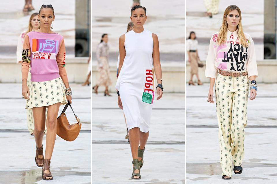 "The Chloé spring and summer 2021 runway collection included several pieces bearing the optimistic messaging and colorful artwork of artist Corita Kent. <span class=""copyright"">(Chloé)</span>"