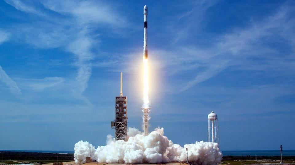 A SpaceX Block 5 Falcon 9 rocket launches the Bangabandhu satellite in 2018.