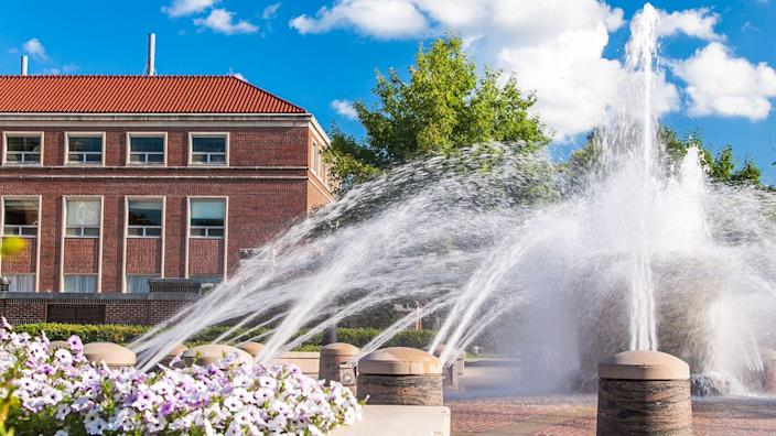 View of the fountain in the campus of Purdue University, West Lafayette, Indiana, in summer - Image.