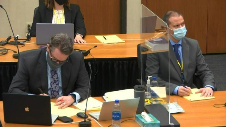 Derek Chauvin (R) in court in a screenshot obtained from pool video feed via Court TV