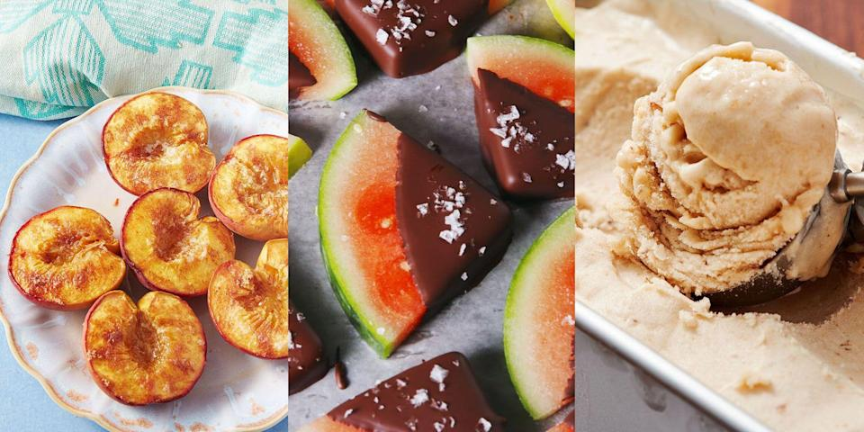 "<p>Opting for a healthier lifestyle doesn't have to mean cutting out desserts completely (you heard me). You can still indulge and enjoy after-dinner treats, you'll just need to swap out a few things. Most of the time, it'll mean less sugar, and more fruit. You know, like <a href=""https://www.delish.com/uk/cooking/recipes/a29954651/baked-peaches-recipe/"" rel=""nofollow noopener"" target=""_blank"" data-ylk=""slk:Baked Peaches"" class=""link rapid-noclick-resp"">Baked Peaches</a>, <a href=""https://www.delish.com/uk/cooking/recipes/a28869255/banana-ice-cream/"" rel=""nofollow noopener"" target=""_blank"" data-ylk=""slk:Banana Ice Cream"" class=""link rapid-noclick-resp"">Banana Ice Cream</a> and <a href=""https://www.delish.com/uk/cooking/recipes/a33631883/chocolate-covered-watermelon-recipe/"" rel=""nofollow noopener"" target=""_blank"" data-ylk=""slk:Chocolate Covered Watermelon"" class=""link rapid-noclick-resp"">Chocolate Covered Watermelon</a>. Need some inspo? We've rounded up our favourite healthy desserts for you to try, and we're convinced you won't even be able to tell they're on the lighter-side. </p>"