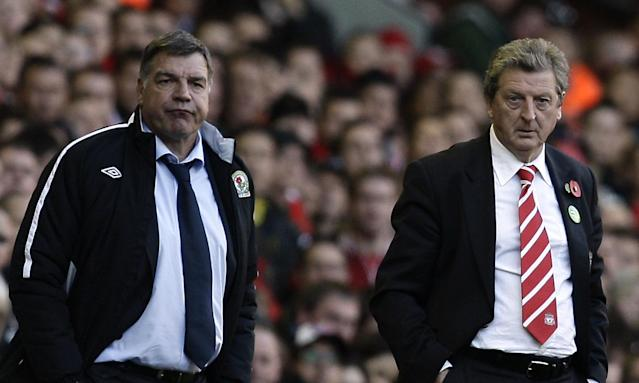 Sam Allardyce, the then Blackburn manager, stands alongside Roy Hodgson in the technical area at Anfield during 2010, when his England predecessor was in charge of Liverpool.