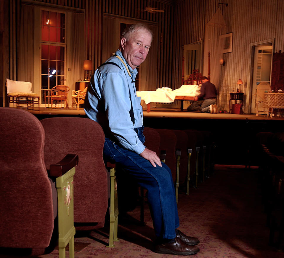 """FILE - In this Oct. 17, 2003, file photo, actor Ned Beatty poses at New York's Music Box Theatre where he plays the role of Big Daddy in a new production of Tennessee Williams' """"Cat on a Hot Tin Roof."""" Beatty, the indelible character actor whose first film role, as a genial vacationer raped by a backwoodsman in 1972′s """"Deliverance,"""" launched him on a long, prolific and accomplished career, died Sunday, June 13, 2021. He was 83. (AP Photo/Gino Domenico, File)"""