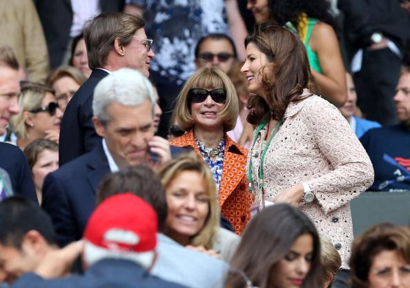 Editor-in-chief of American Vogue Anna Wintour and Roger Federer's wife Miroslava Vavrinec attend the Gentlemen's Singles final match between Roger Federer of Switzerland and Andy Murray of Great Britain on day thirteen of the Wimbledon Lawn Tennis Championships at the All England Lawn Tennis and Croquet Club on July 8, 2012 in London, England. (Photo by Clive Brunskill/Getty Images)
