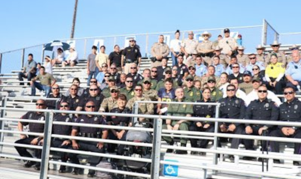 In June, Mission Police Cpl. Jose Espericueta was fatally shot in the line of duty. On Saturday, police officers from across south Texas showed up to support his son during his first football game. (Photo: City of Mission, Texas)