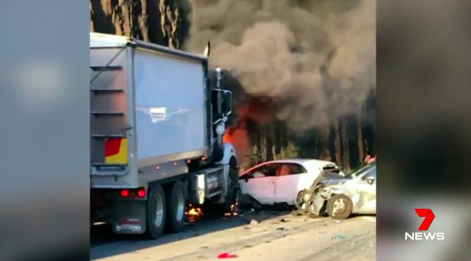 The collision between a truck and several cars happened about 5pmon Tuesday at Mooney Mooney Creek. Source: 7 News