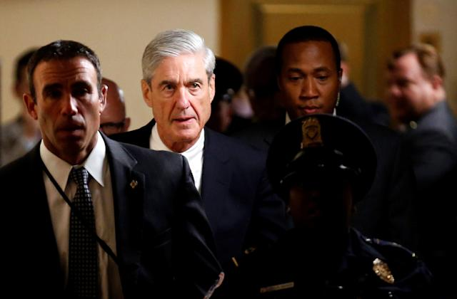 Special counsel Robert Mueller departs after briefing members of the U.S. Senate on his investigation into potential collusion between Russia and the Trump campaign on June 21, 2017.