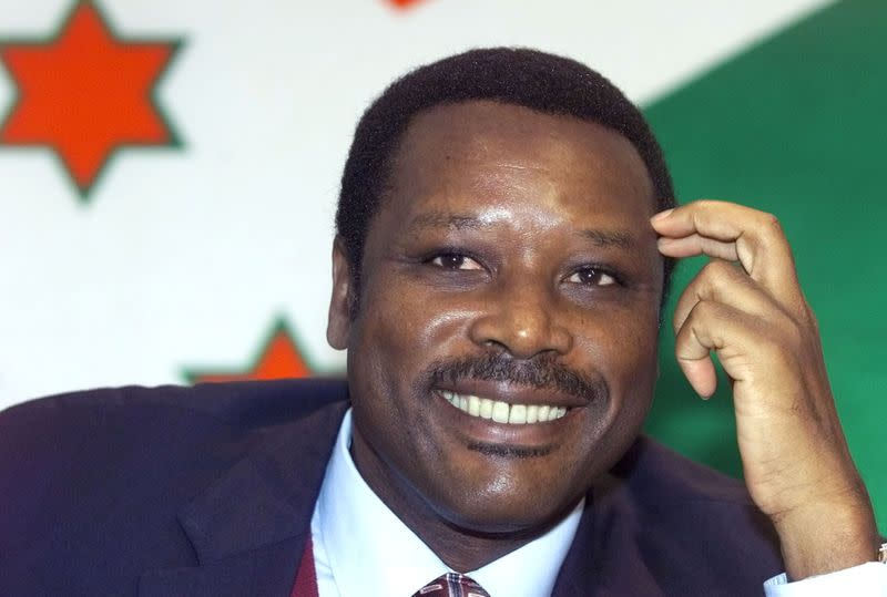 FILE PHOTO: Burundi President Pierre Buyoya listens to reporters' questions during a news conference in Brussels