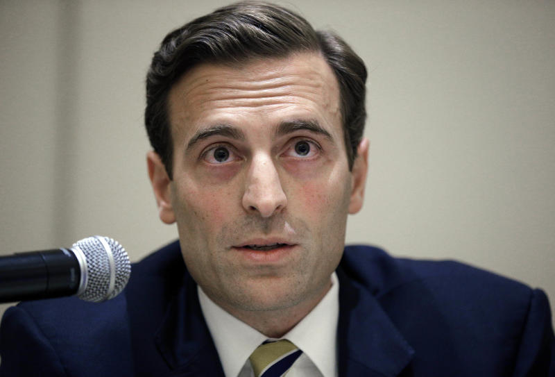 FILE - In this Sept. 20, 2014 file photo, Adam Laxalt speaks during a debate at the Nevada Press Association annual convention in Las Vegas. The most closely-watched race in Nevada's primary election Tuesday, June 12, 2018, is the battle for governor. Clark County Commission member Steve Sisolak, who has held more moderate positions in the past, says he's best-positioned to take on Republican state Attorney General Laxalt in November. Laxalt is expected to win the GOP primary for the governor's race. (AP Photo/John Locher, File)