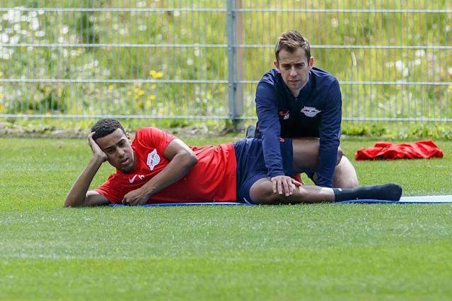 A calf injury will prevent RB Leipzig's Tyler Adams (left) from making his Champions League debut this week against Tottenham. (Getty)
