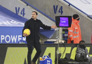 Chelsea's head coach Frank Lampard waits for the VAR system to be reviewed by the referee during the English Premier League soccer match between Leicester City and Chelsea at the King Power Stadium in Leicester, England, Tuesday, Jan. 19, 2021 (Michael Regan/Pool via AP)