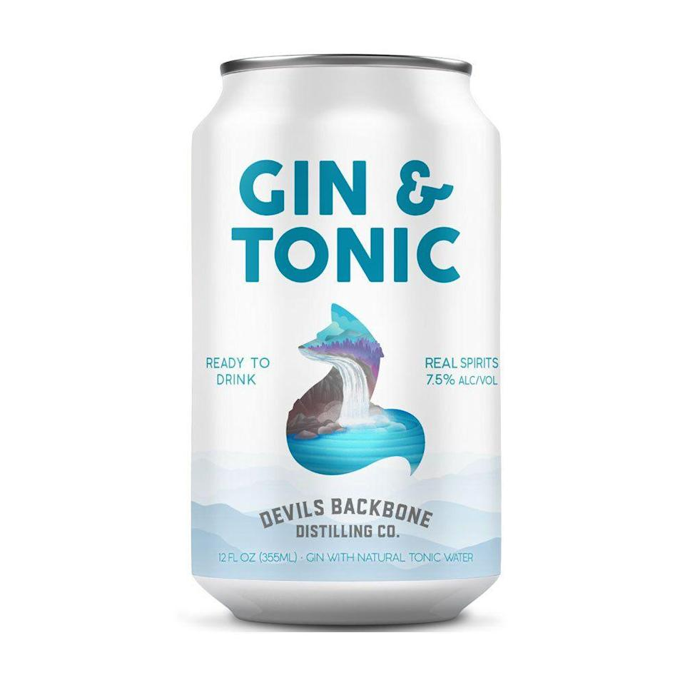 """<p><a class=""""link rapid-noclick-resp"""" href=""""https://www.dbbrewingcompany.com/product/devils-backbone-gin-tonic/"""" rel=""""nofollow noopener"""" target=""""_blank"""" data-ylk=""""slk:BUY IT HERE"""">BUY IT HERE</a></p><p><strong>Best Canned Gin & Tonic</strong></p><p>There's a special place in my heart for Devils Backbone, a craft brewery that made some of my favorite beers when I was a college student in the Commonwealth of Virginia. It's cool to see them expanding beyond beer into the canned cocktail game, and finding a way to apply their thoughtful craft touch to a classic like the gin & tonic. They also make a few other cocktails—the Orange Smash is also delicious—that you'll want to pack away for your upcoming camping trip.</p>"""