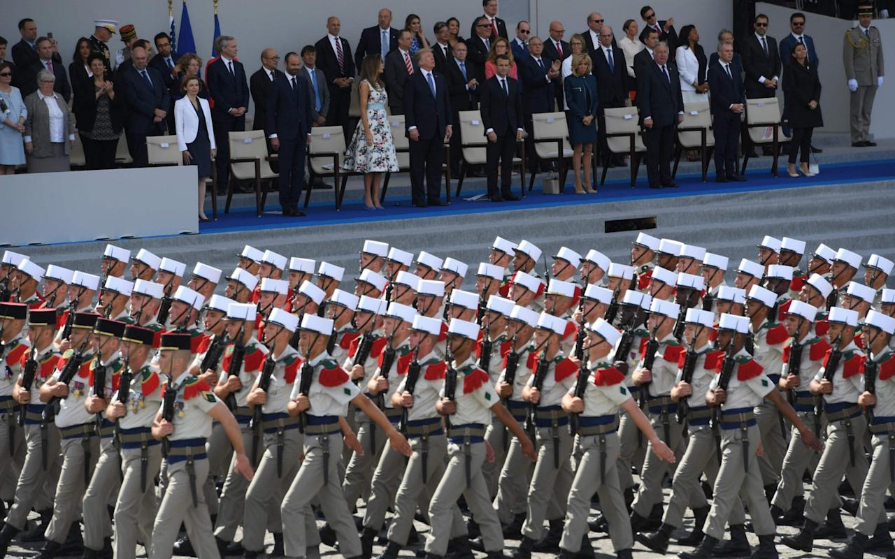 """France hasunveiled plans to boost defence spending by more than a third between 2017 and 2025 in an """"unprecedented effort"""" to meet Nato commitments and modernise its army and nuclear deterrent. Presenting the multi-year military spending plan, the defence ministry said it would pump €295 billion (£260bn) into bolstering its armed forces between 2019 and 2025, after already raising the budget by 1.8 per cent to €34.3bn this year. The annual increase is forecast to remain at 1.7 per cent between 2019 and 2022 to reach €44 billion that year, before jumping by three per cent in 2023 - conveniently, detractors will say, the year after President Emmanuel Macron's five-year term ends. The aim is to meet France's commitment to spend two per cent of gross domestic product on defence. """"I want a strong France, in charge of its own destiny, protective of its citizens and its interests,"""" Mr Macron said last month in a new year's address to the military. """"For that, we need a full defence capability, a modern, powerful force that is responsive and looks to the future,"""" he said,calling the spending rise an """"unprecedented budgetary effort"""". France is to boost defence spending by a third between 2019 and 2025 Credit: CLAUDE PARIS/AP European Nato members have come under pressure from President Donald Trump to shoulder more defence costs to relieve the burden on the United States, which currently accounts for about 70 per cent of combined Nato defence spending. The spending increase will place France roughly on a par with the UK, which has already met, and in recent cases surpassed, its two per cent spending pledge. The boost, which French daily Le Monde called """"colossal"""", comes six months after then chief of the defence staff, General Pierre de Villiers, resigned in a dispute with Mr Macron over cuts.  Gen De Villiers, a highly respected figure, complained to parliament that the army was being """"screwed"""", drawing a public rebuke from the French president, which prompted the general to"""