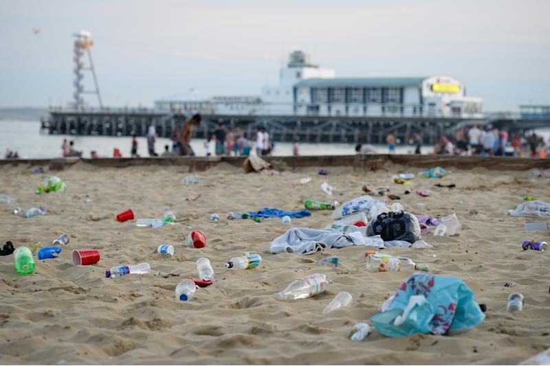 Litter pickers said they counted around eight tonnes of rubbish left on the beach on the 1.6 mile stretch between Bournemouth's two piers. (Getty)