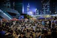 Pro-democracy demonstrators gather for a rally in Hong Kong on October 10, 2014 (AFP Photo/Philippe Lopez)