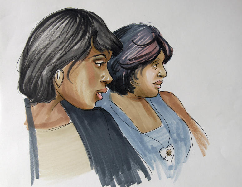 In this courtroom sketch, singer and actress Jennifer Hudson, left, sits with her sister, Julia Hudson, at court in Chicago, Tuesday, July 24, 2012, where William Balfour, the man convicted in the October 2008 shooting deaths of Hudson's 57-year-old mother Darnell Donerson, her 29-year-old brother Jason Hudson and her 7-year-old nephew Julian King, was sentenced to life in prison. (AP Photo/Tom Gianni)