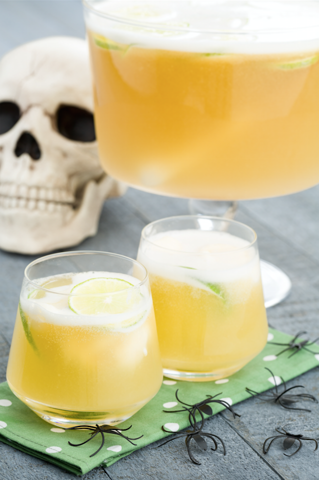 "<p>Making a big batch cocktail will make your life so much easier, and with the right recipe, they're just as impressive (if not more). This Frankenpunch cocktail is tangy and delicious. If you want to go all the way with the Frankenstein theme, add green food coloring.</p><p>Get the recipe from <a href=""https://www.delish.com/cooking/recipe-ideas/recipes/a44172/frankenpunch-lime-sherbert-recipe/"">Delish</a>.</p>"
