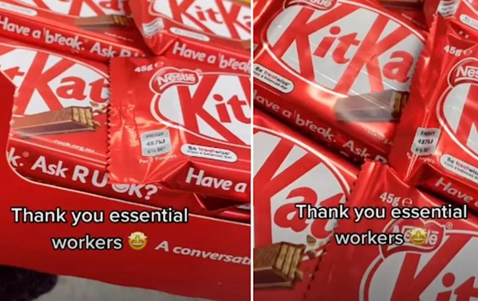 The woman thanked essential workers in her video. Source: TikTok @lisabiscoff